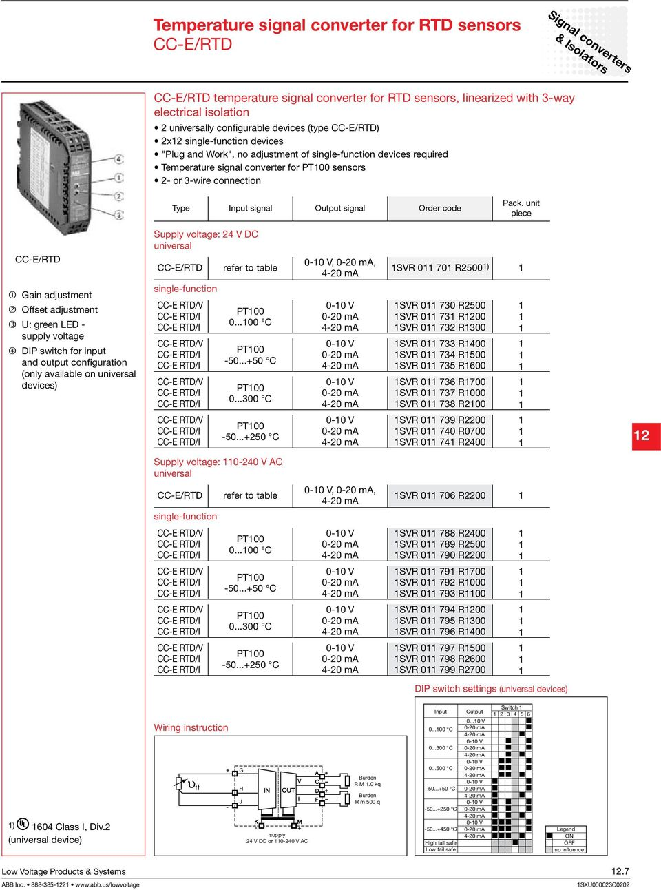 signal Output signal Order code piece CC-E/RTD Gain adjustment Offset adjustment U: green LED - supply voltage DIP switch for input and output configuration (only available on universal devices)