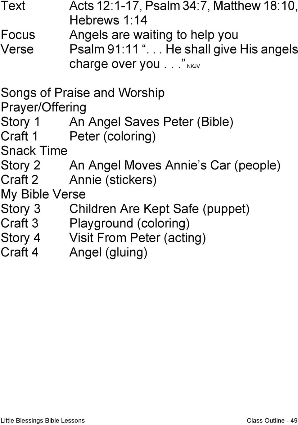 Little Blessings Bible Lessons Class Outline PDF