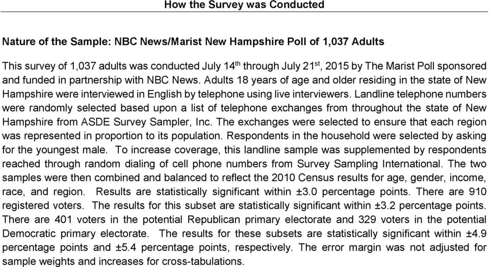 Landline telephone numbers were randomly selected based upon a list of telephone exchanges from throughout the state of New Hampshire from ASDE Survey Sampler, Inc.