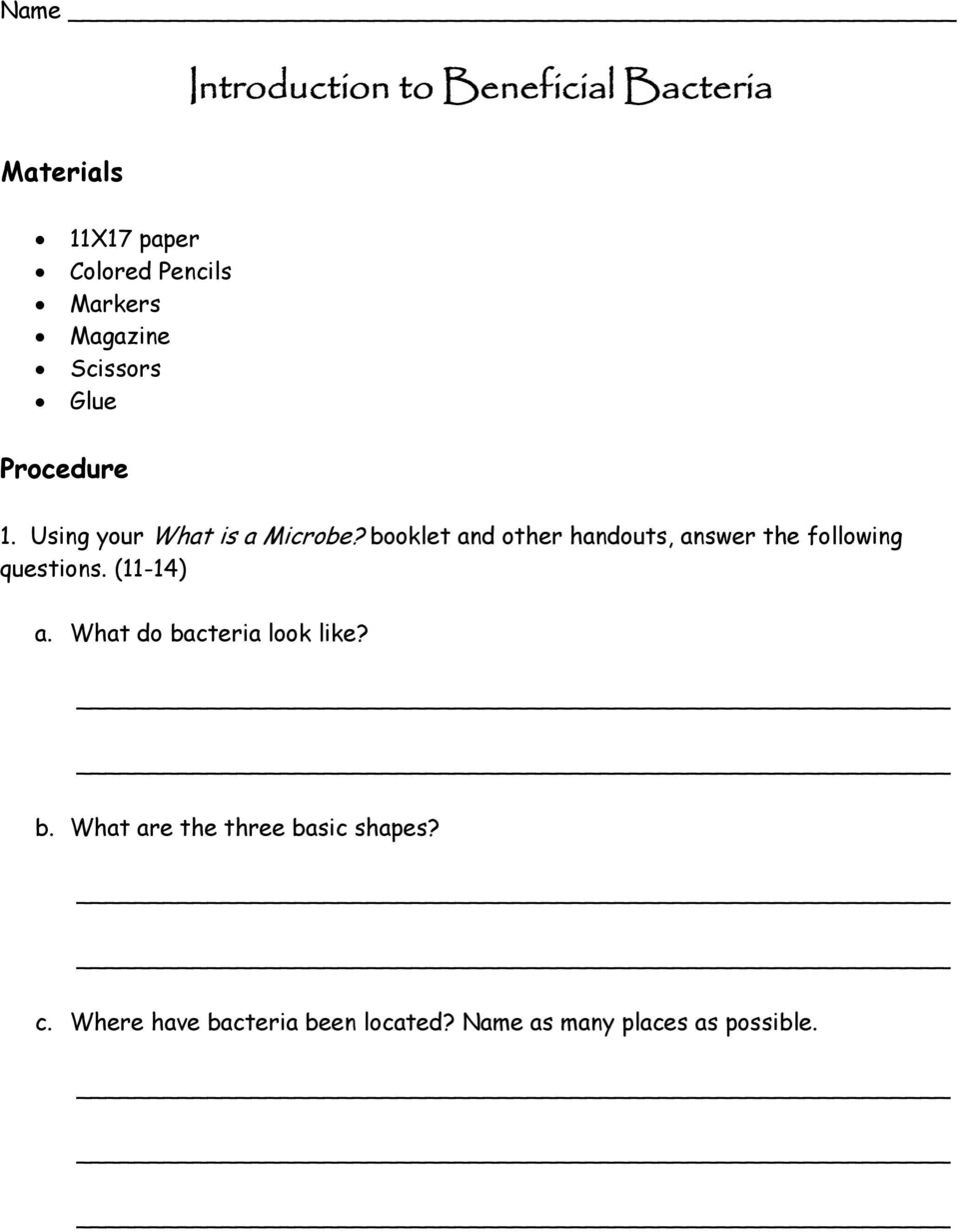 booklet and other handouts, answer the following questions. (11-14) a.