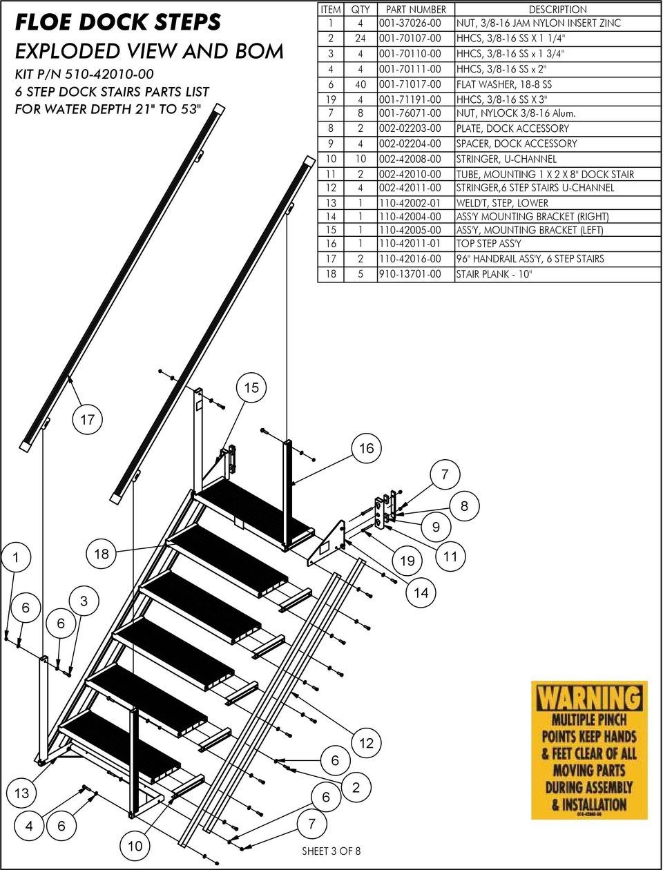 FLOE DOCK STEPS FOR ROLL-IN AND SECTIONAL DOCKS ASSEMBLY