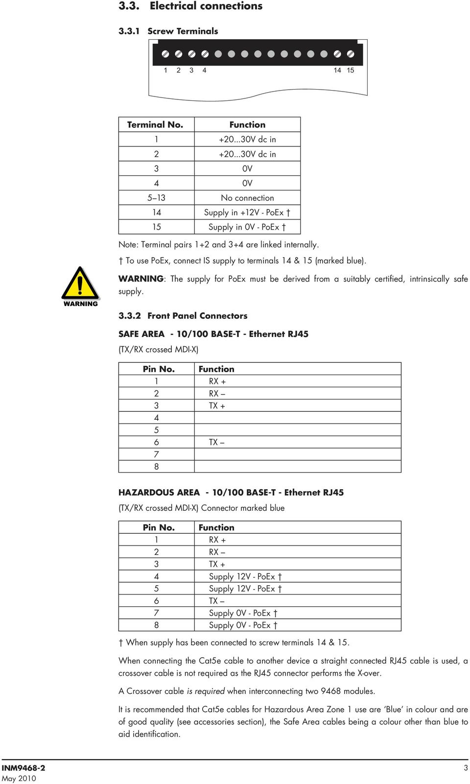 9468 Et 10 100mb Ethernet Isolator Pdf Pin Rj45 Connector Wiring Diagram To Use Poex Connect Is Supply Terminals 14 15 Marked Blue