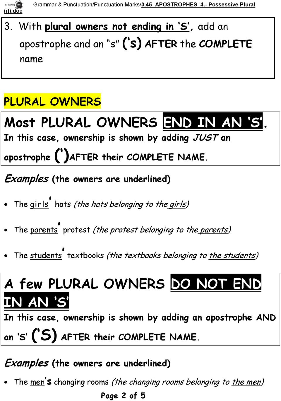 Grammar & Punctuation/Punctuation Marks/3.45 APOSTROPHES 4.- Possessive  Plural. APOSTROPHES 4. Possessive Plural (i) - PDF Free Download