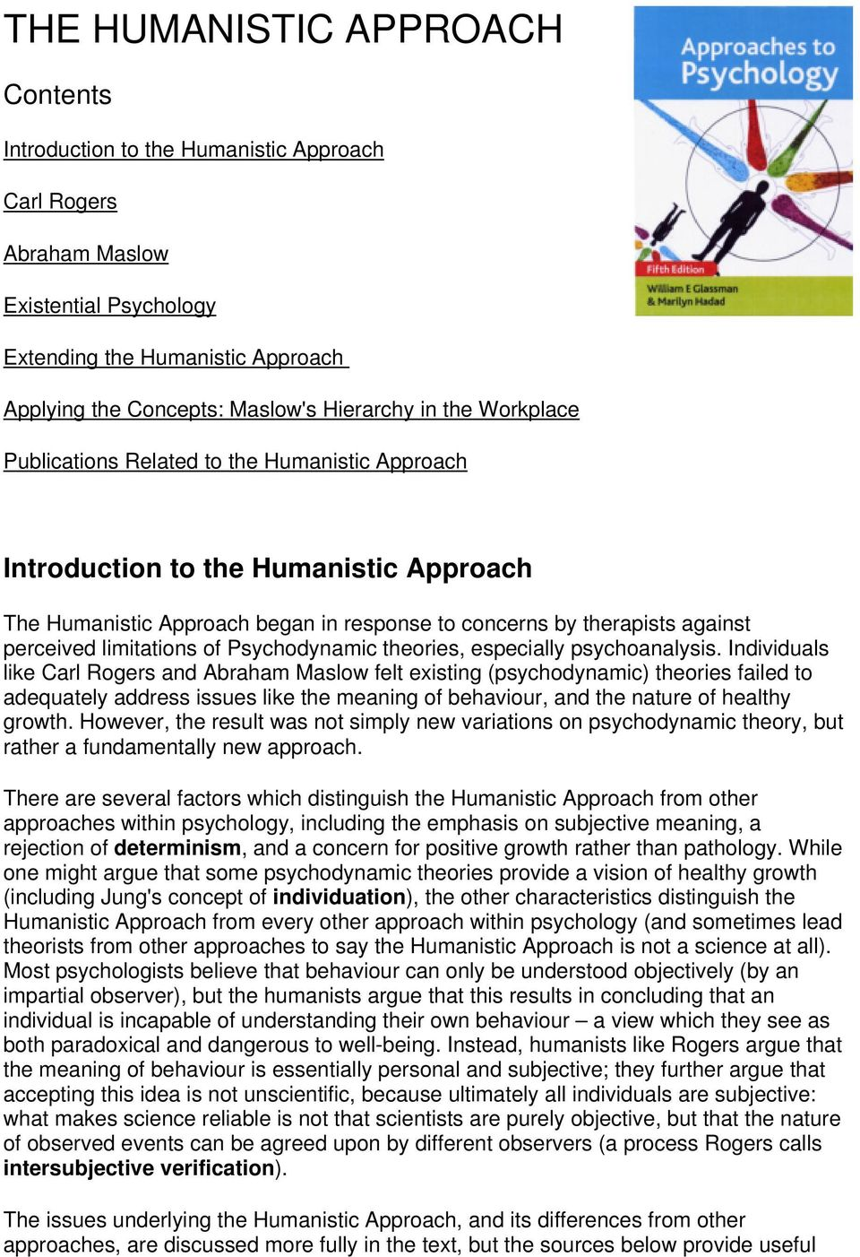 limitations of the humanistic approach