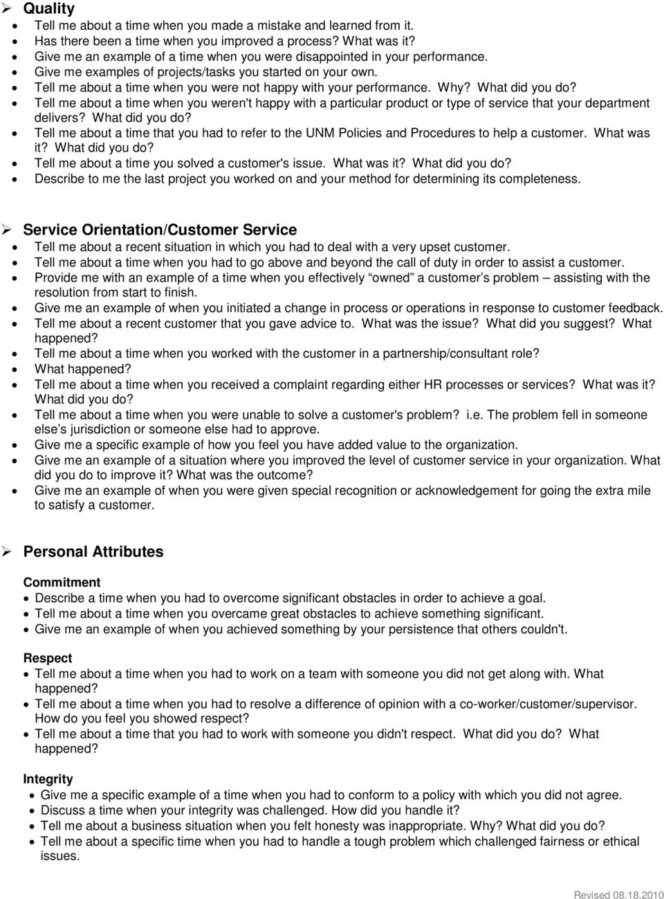 Interview Questions Behavioral Questions By Job Competency Pdf