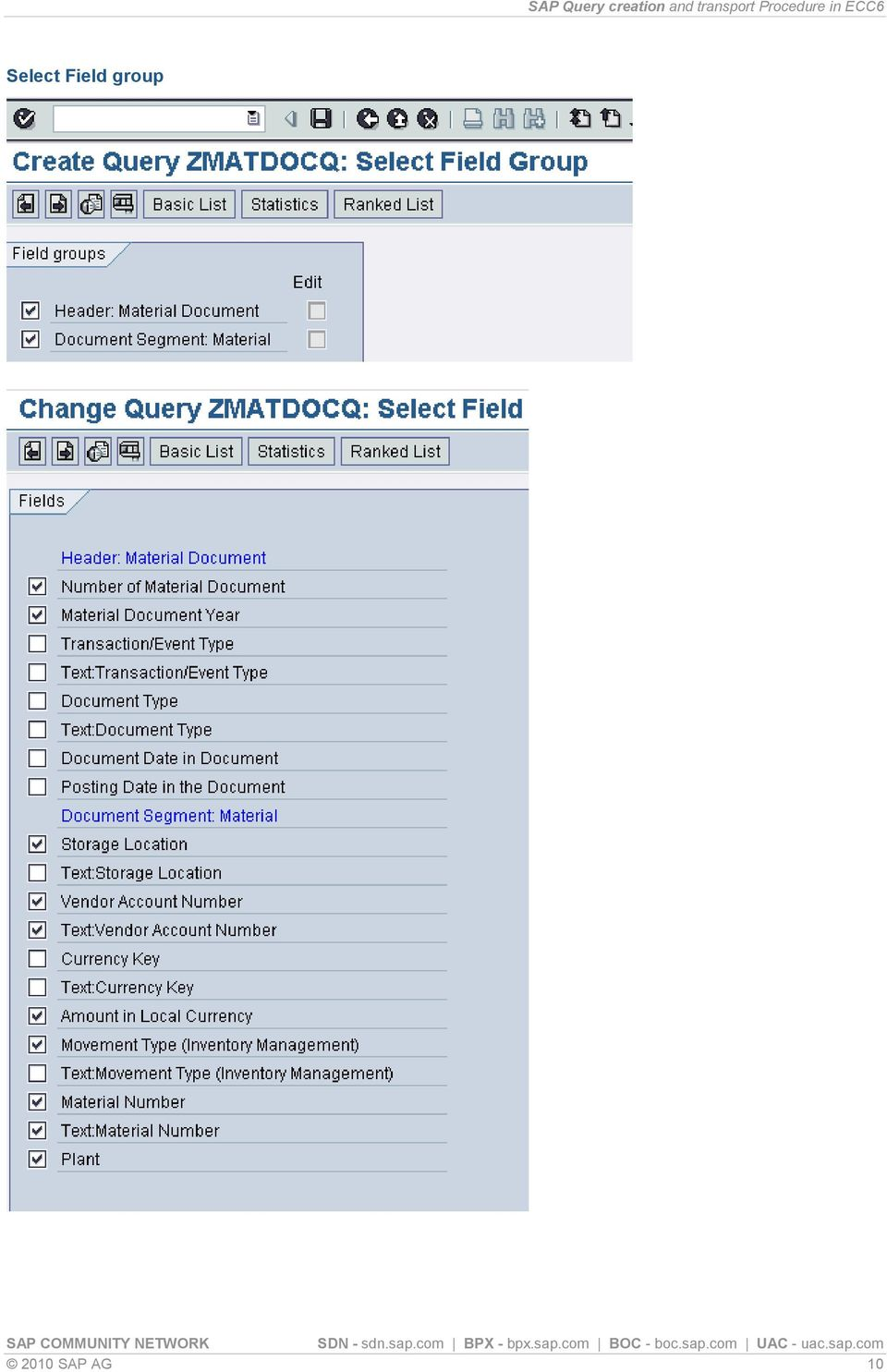 Table of Content  SAP Query creation and transport Procedure in ECC6