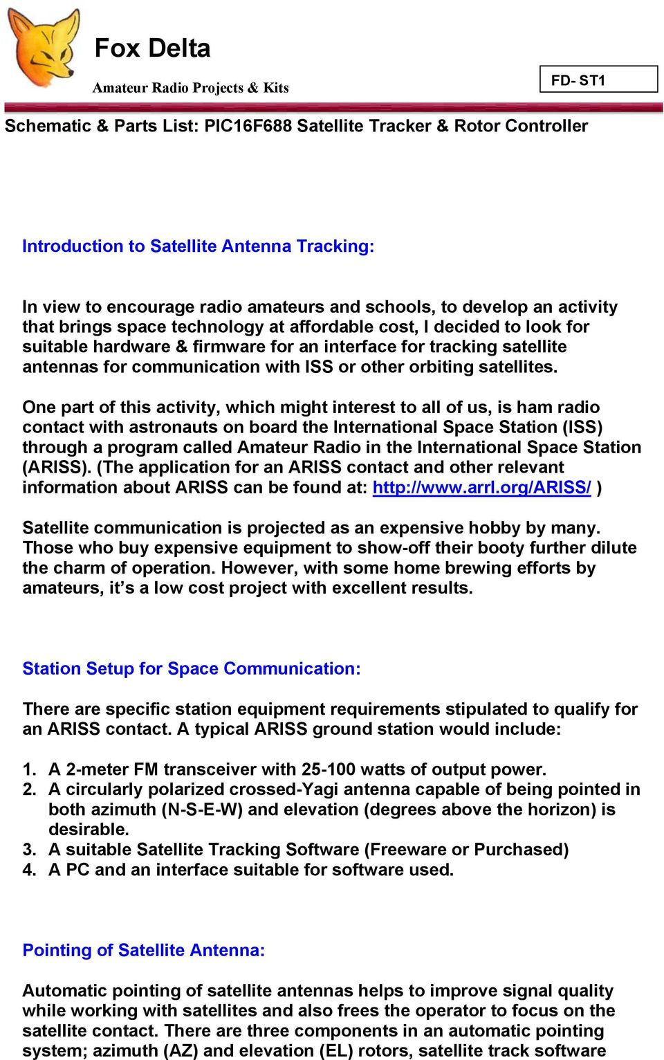 Schematic Parts List Pic16f688 Satellite Tracker Rotor 15v Tracking Transmitter Communication With Iss Or Other Orbiting Satellites