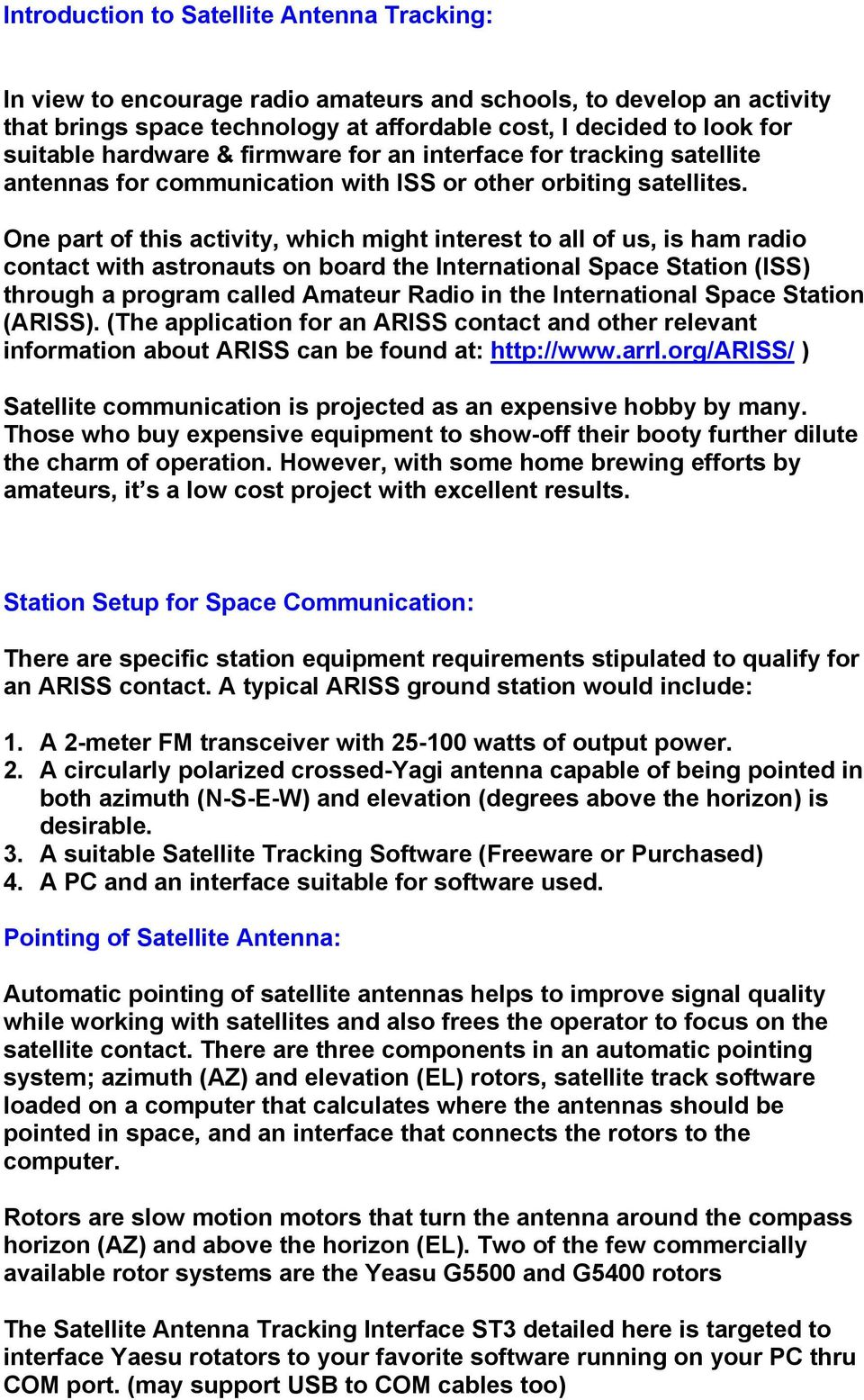 Tech Info Document: PIC16F84A LCD Satellite Antenna Tracking