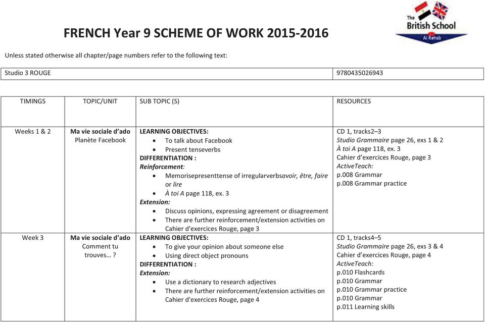 French year 9 scheme of work pdf 3 discuss opinions expressing agreement or disagreement cahier dexercices rouge page 3 fandeluxe
