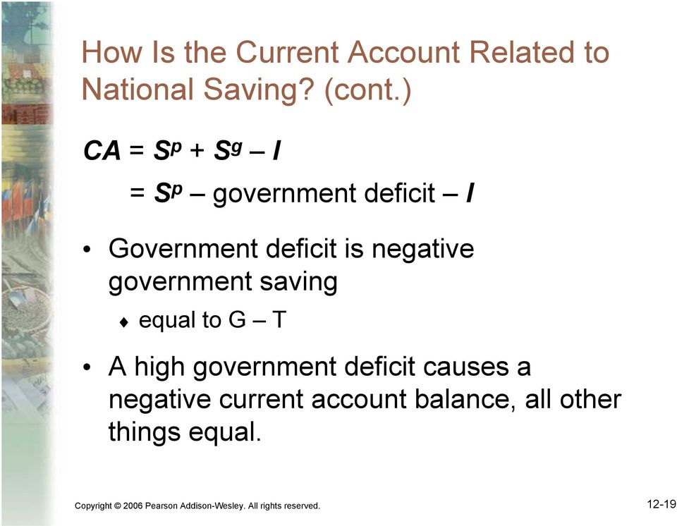 government saving equal to G T A high government deficit causes a negative