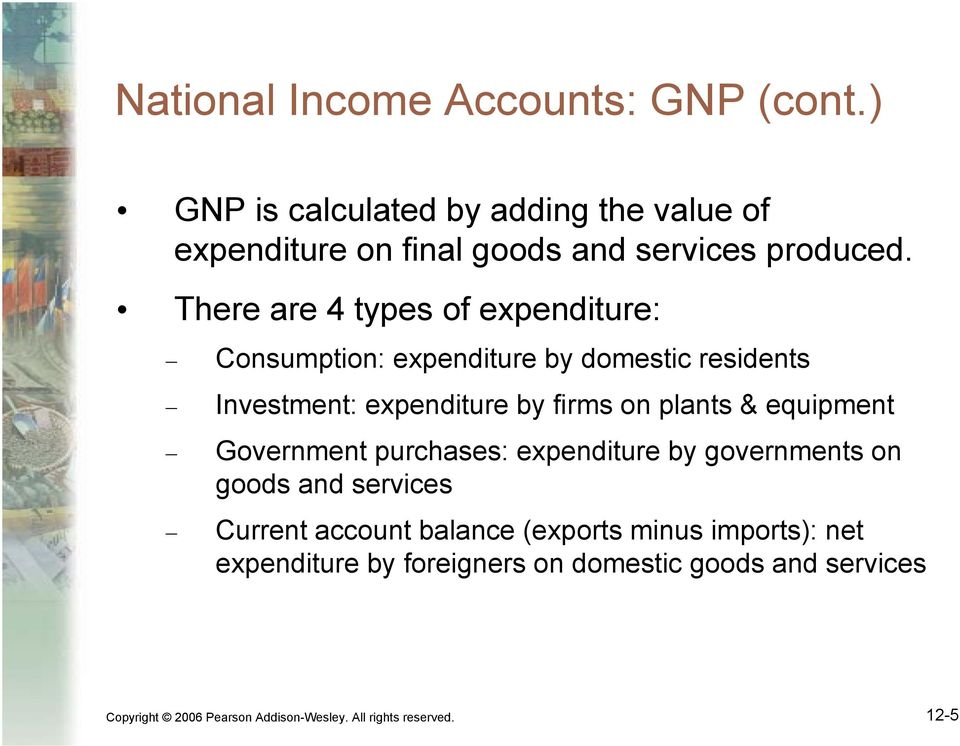 equipment Government purchases: expenditure by governments on goods and services Current account balance (exports minus