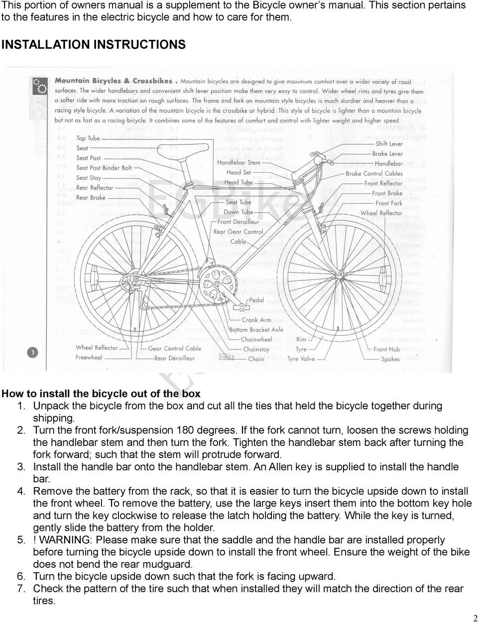 Electric Bicycle Owner S Manual Supplement Pdf Rear Derailleur Diagram Turn The Front Fork Suspension 180 Degrees If Cannot Loosen