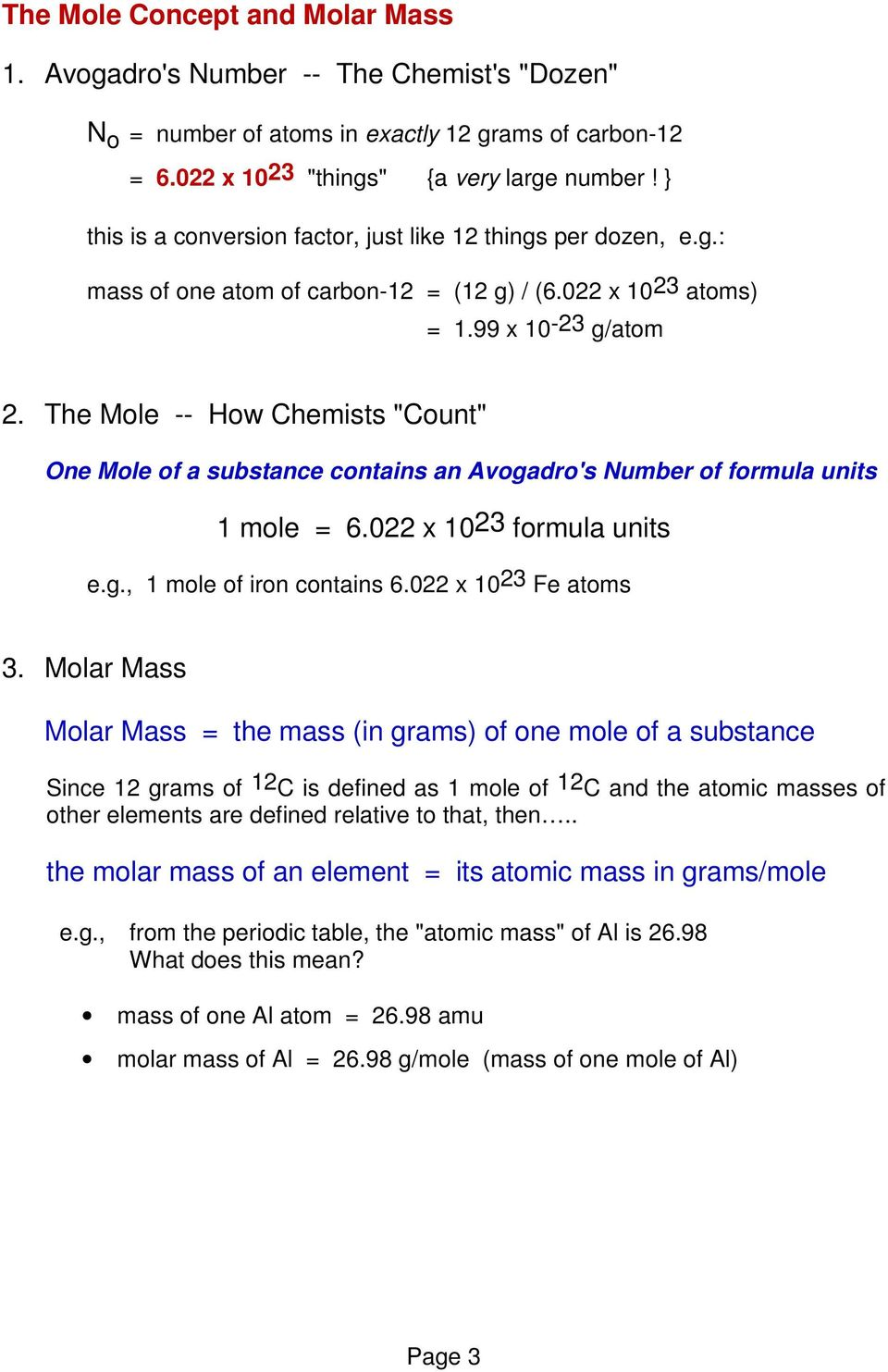 the mole how chemists count one mole of a substance contains an 4 the periodic table