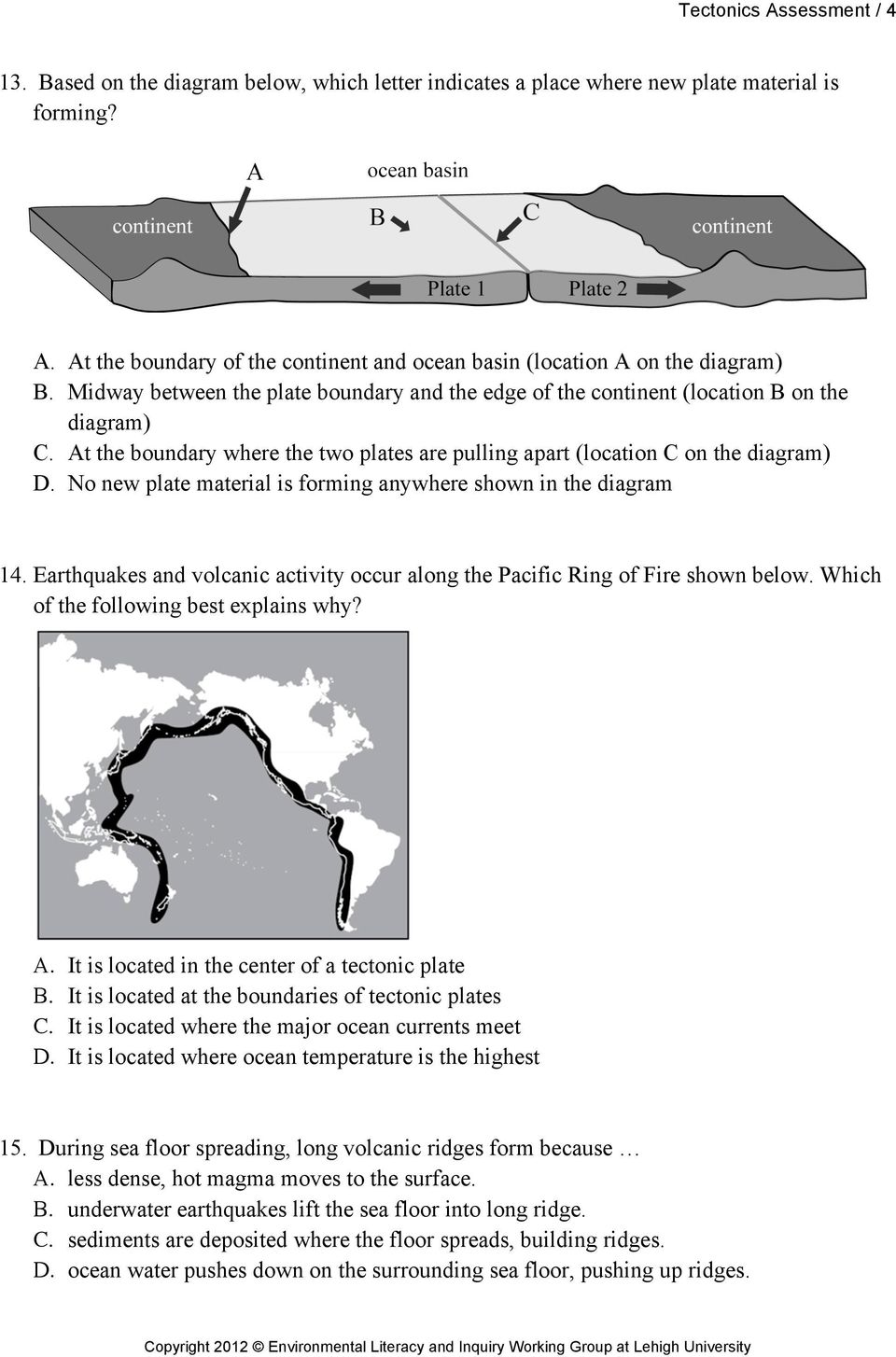 No new plate material is forming anywhere shown in the diagram 14. Earthquakes and volcanic activity occur along the Pacific Ring of Fire shown below. Which of the following best explains why? A.