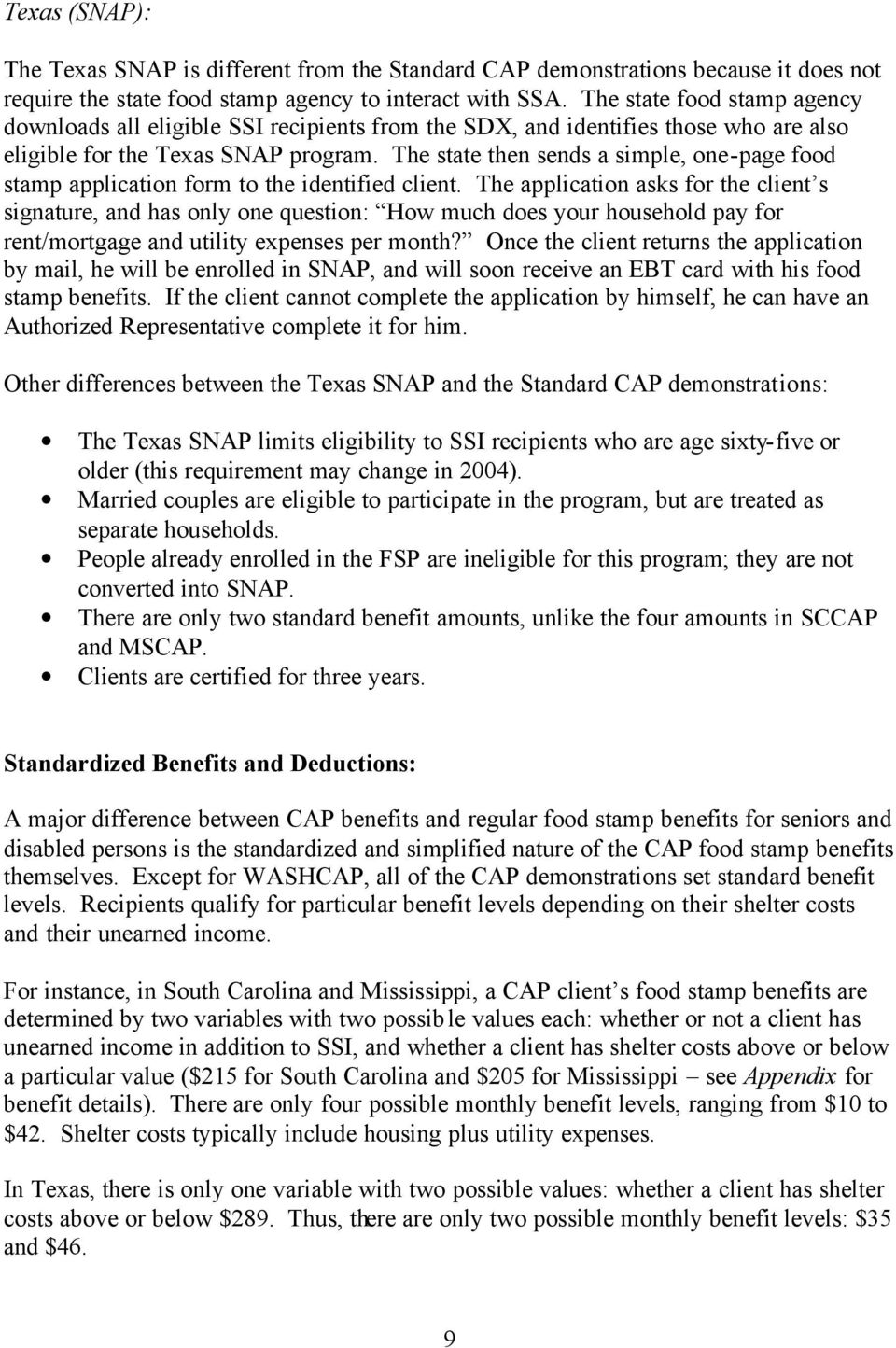 A Guide to the Supplemental Security Income/Food Stamp