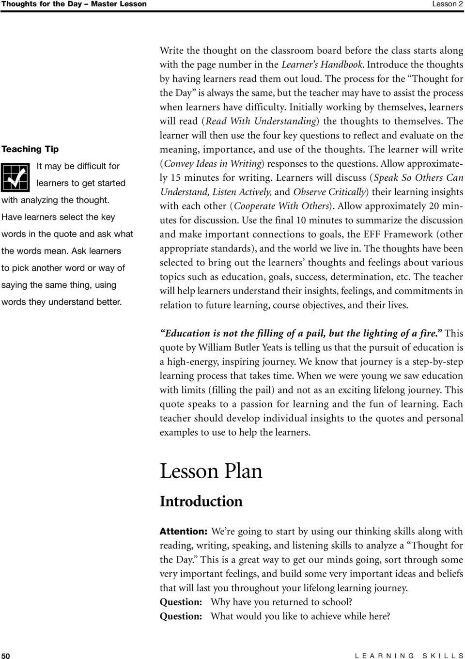 Thought for the Day Master Lesson - PDF