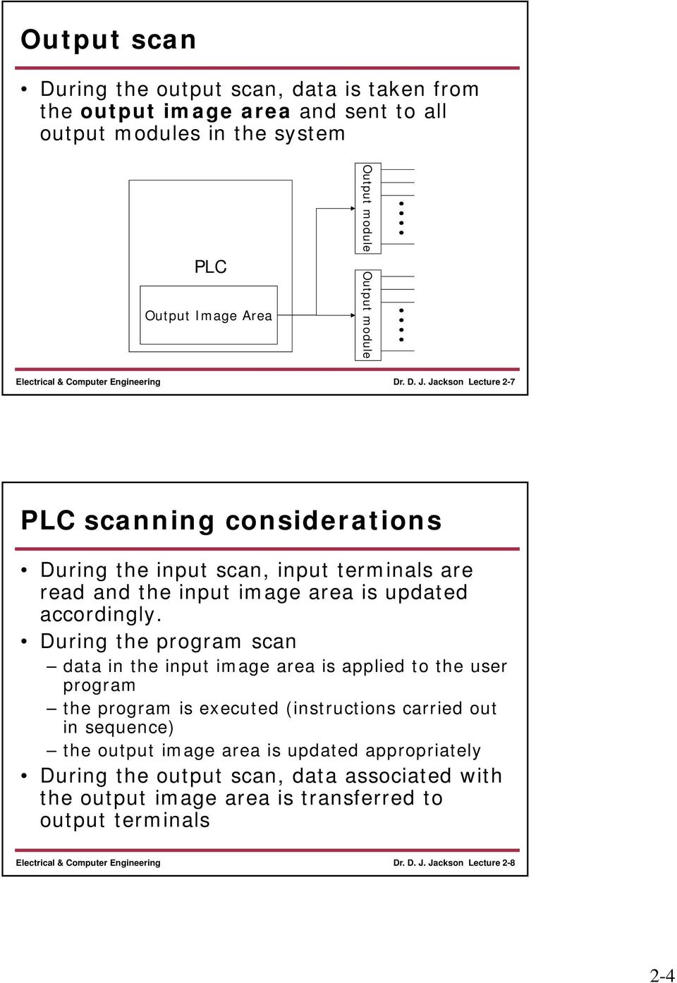 Jackson Lecture 2-7 PLC scanning considerations During the input scan, input terminals are read and the input image area is updated accordingly.