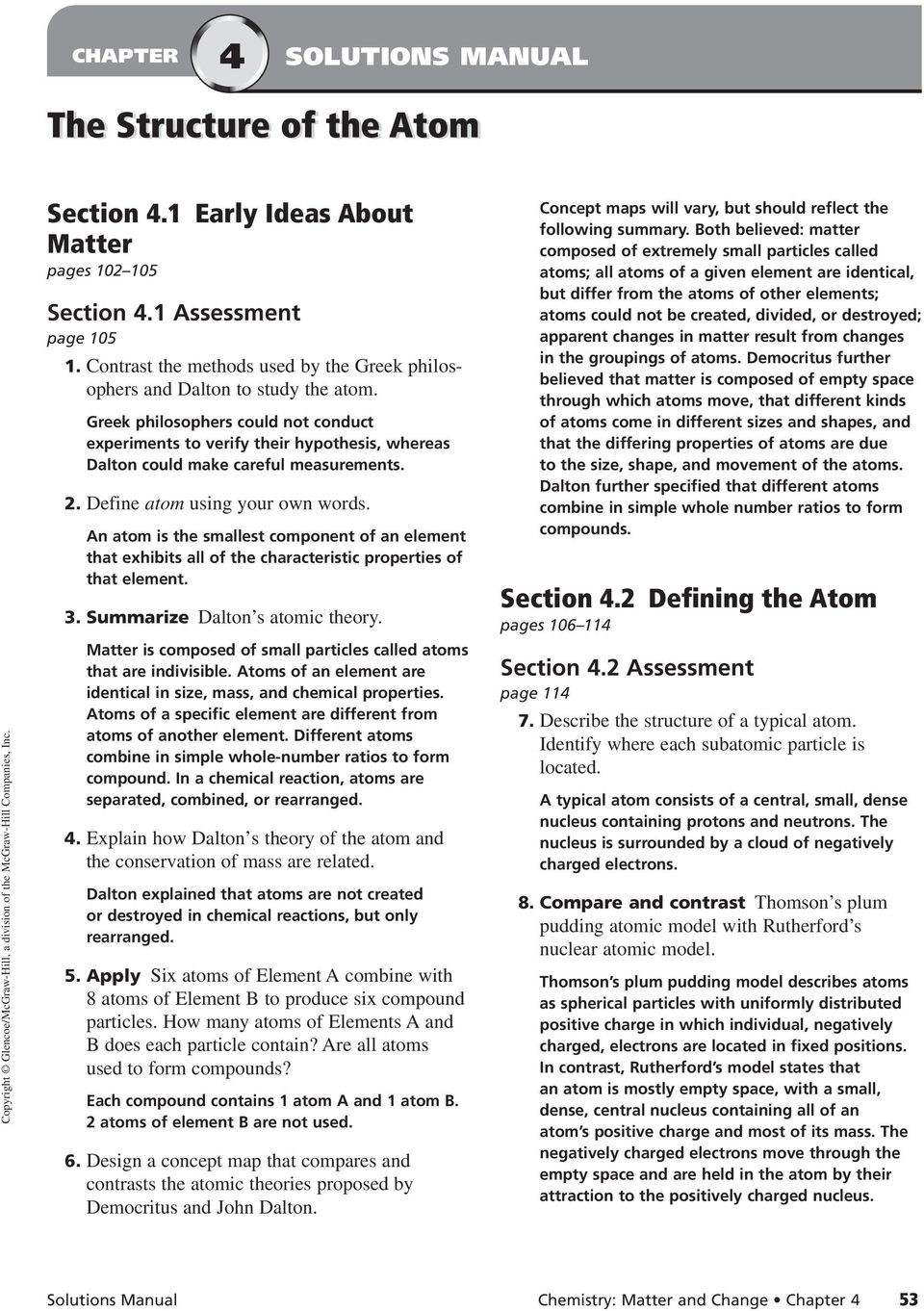 history of atom worksheet pdf