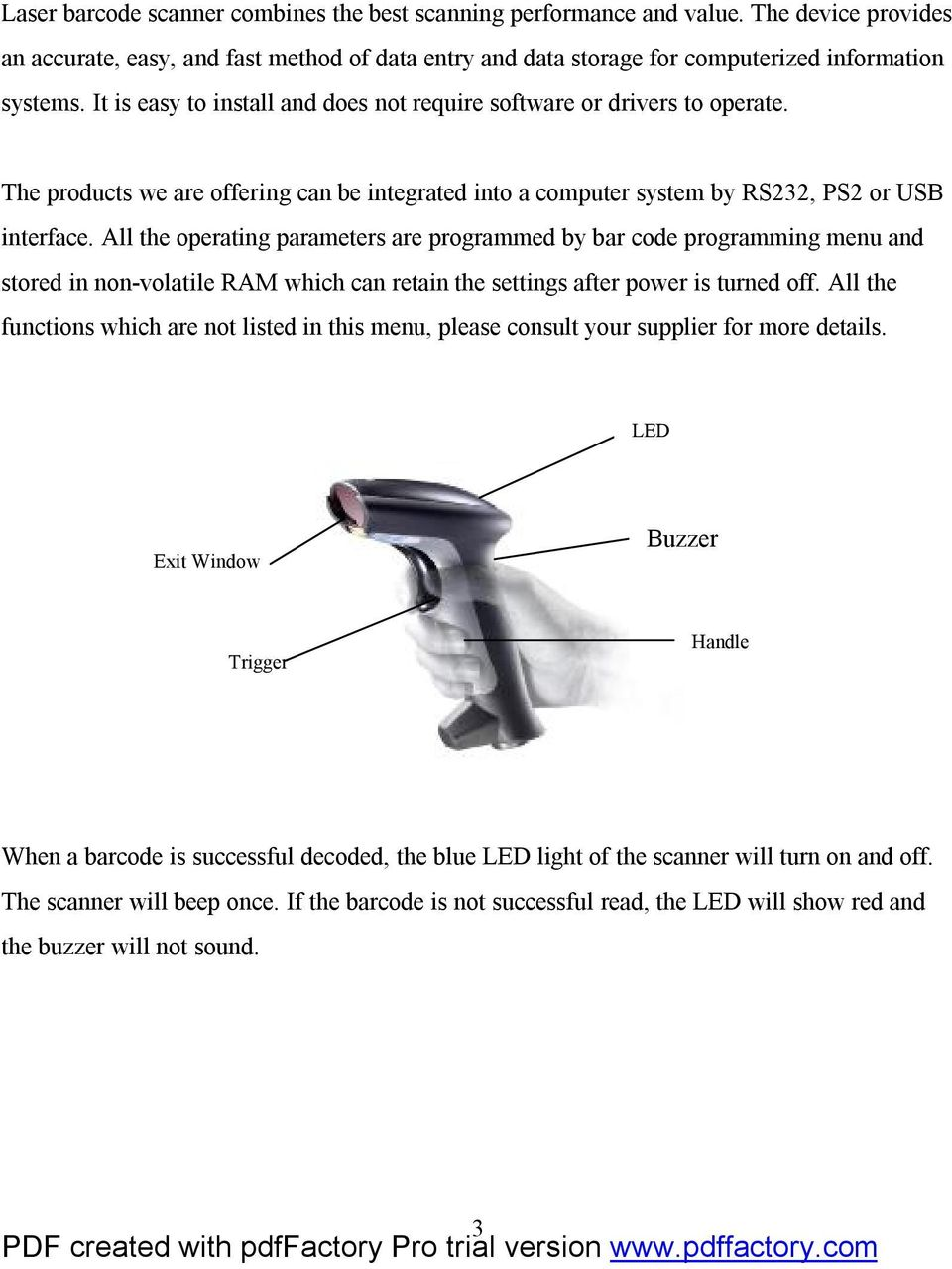 Laser Barcode Scanner User s Manual - PDF