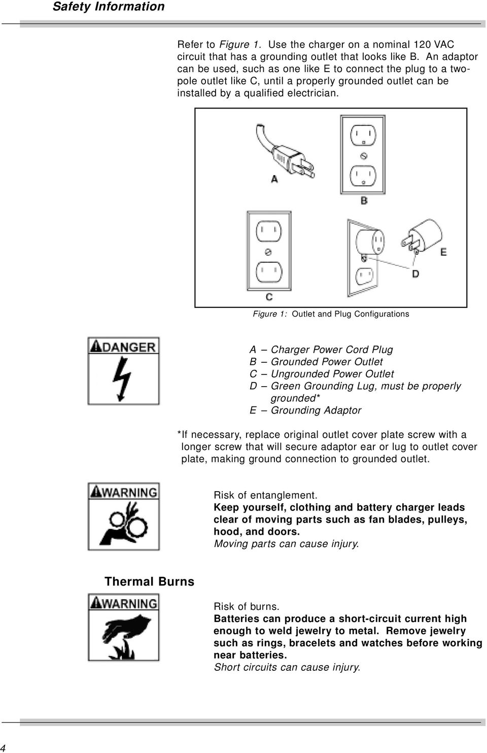 Snap On Bc5500b Super 550 Battery Charger Users Manual Pdf Short Circuit Figure 1 Outlet And Plug Configurations A Power Cord B Grounded