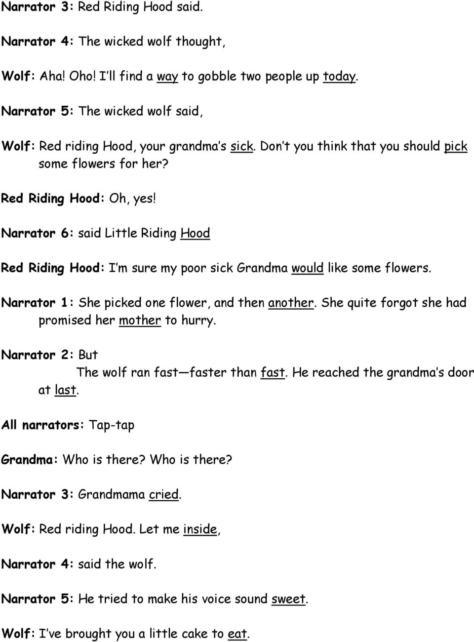 Readers Theater Script Red Riding Hood Pdf Free Download