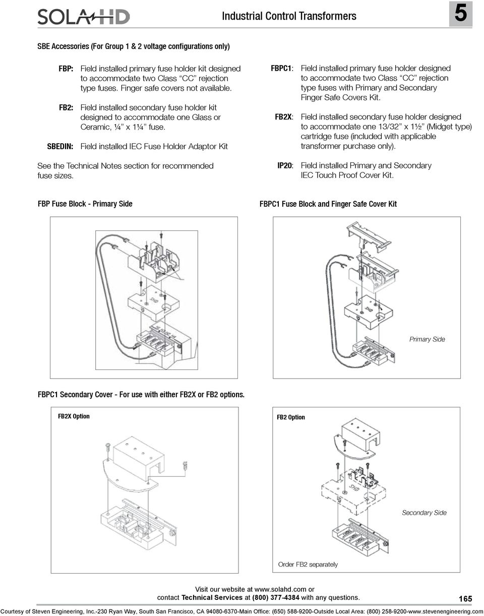 Industrial Control Transformers Pdf Midget Fuse Diagram Sbedin Field Installed Iec Holder Adaptor Kit See The Technical Notes Section For Recommended
