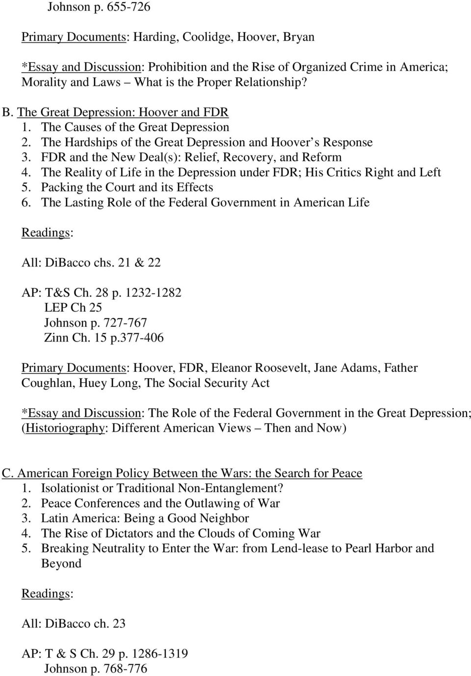 US History Syllabus: Regular, Honors, and Advanced Placement