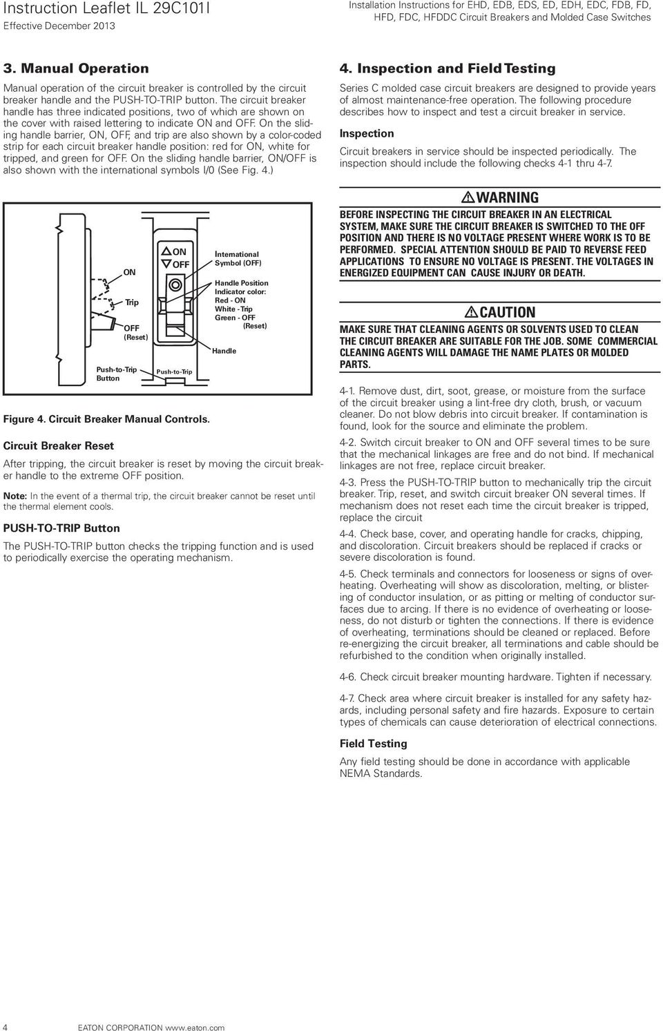 Installation Instructions For Ehd Edb Eds Ed Edh Edc Fdb Fd Circuit Breakers Gt Id Series Earth Leakage Breaker On The Sliding Handle Barrier Off And Trip Are Also Shown By