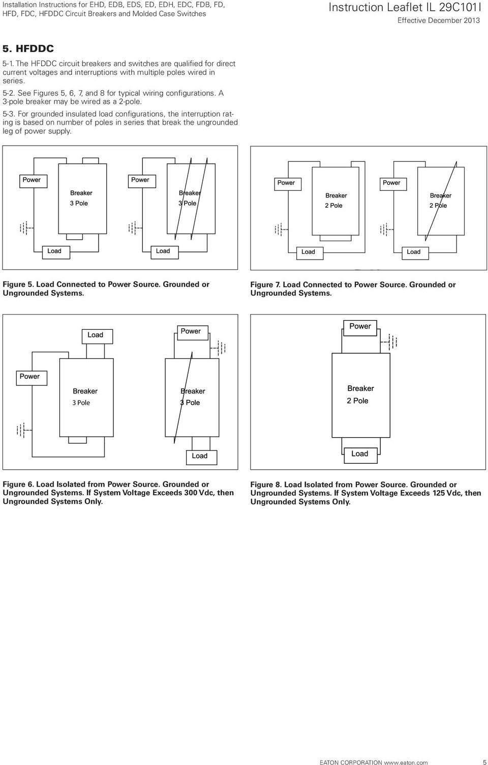 Installation Instructions For Ehd Edb Eds Ed Edh Edc Fdb Fd Circuit Breakers Gt Id Series Earth Leakage Breaker Grounded Insulated Load Configurations The Interruption Rating Is Based On Number Of Poles In