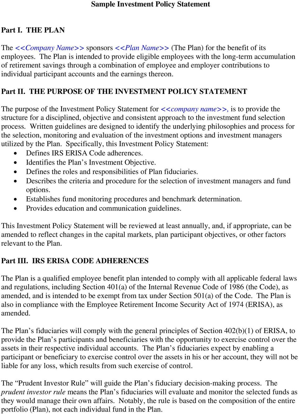 investment policy statement for 401k plans