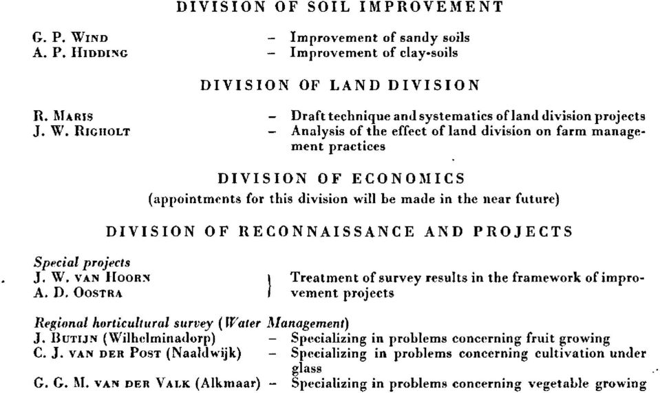 RIGHOLT - Analysis of the effect of land division on farm management practices DIVISION OF ECONOMICS (appointments for this division will be made in the near future) DIVISION OF RECONNAISSANCE AND