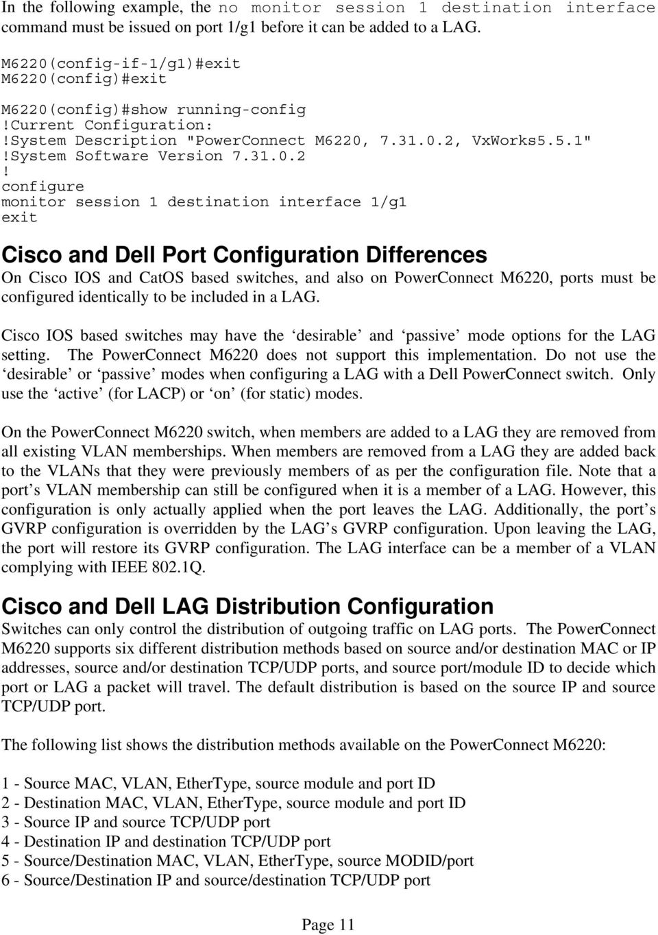 Link Aggregation Interoperability of the Dell PowerConnect