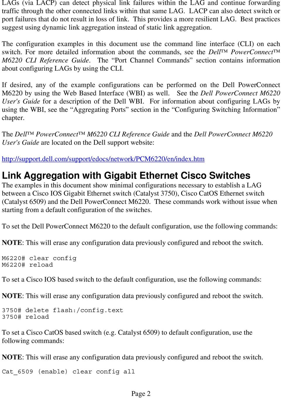 Link Aggregation Interoperability of the Dell PowerConnect M6220
