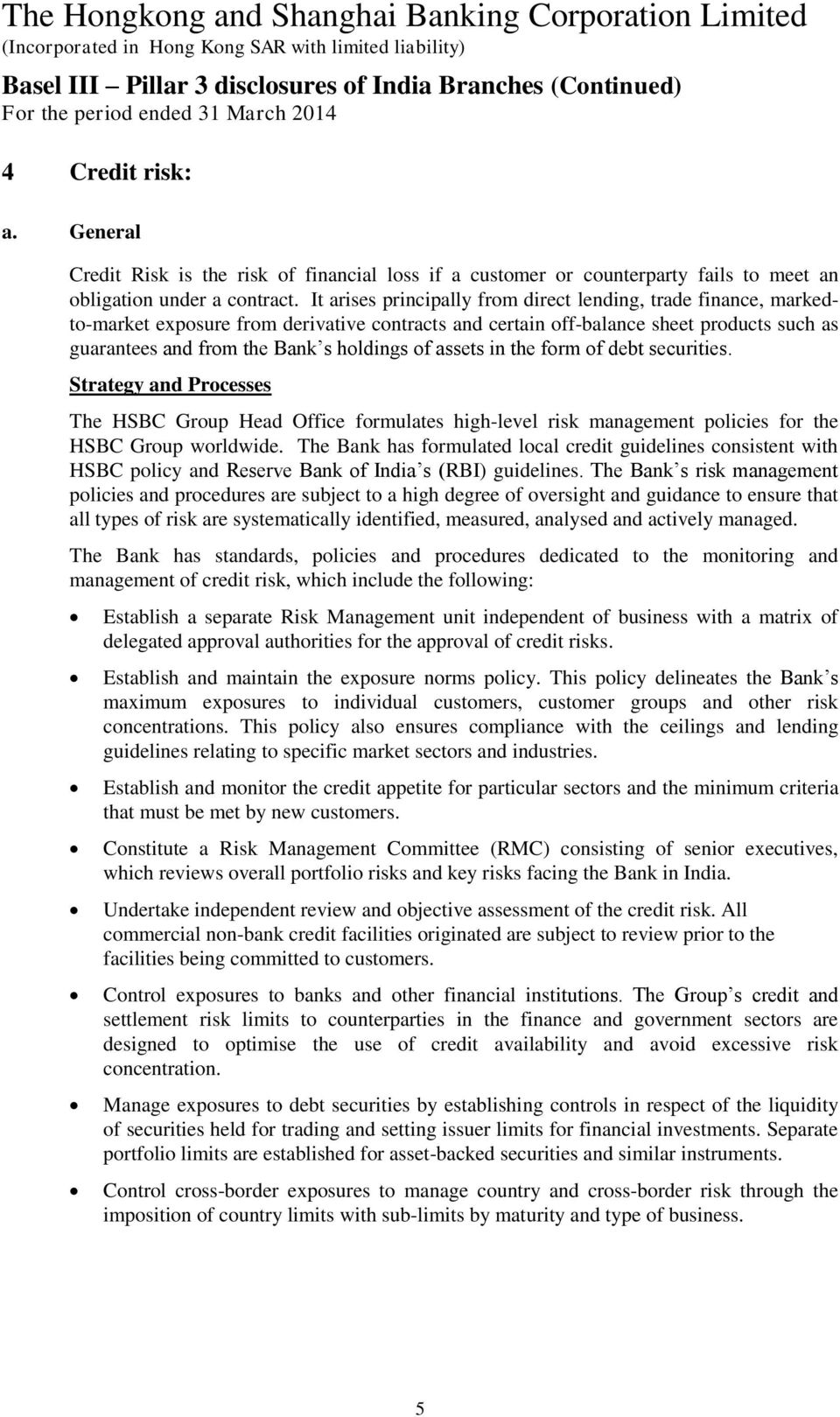 The Hongkong and Shanghai Banking Corporation Limited (Incorporated
