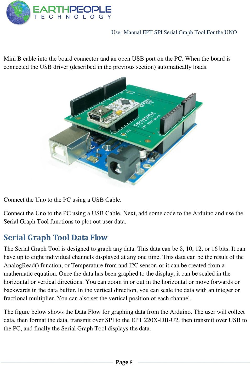 EARTH PEOPLE TECHNOLOGY SERIAL GRAPH TOOL FOR THE ARDUINO UNO USER