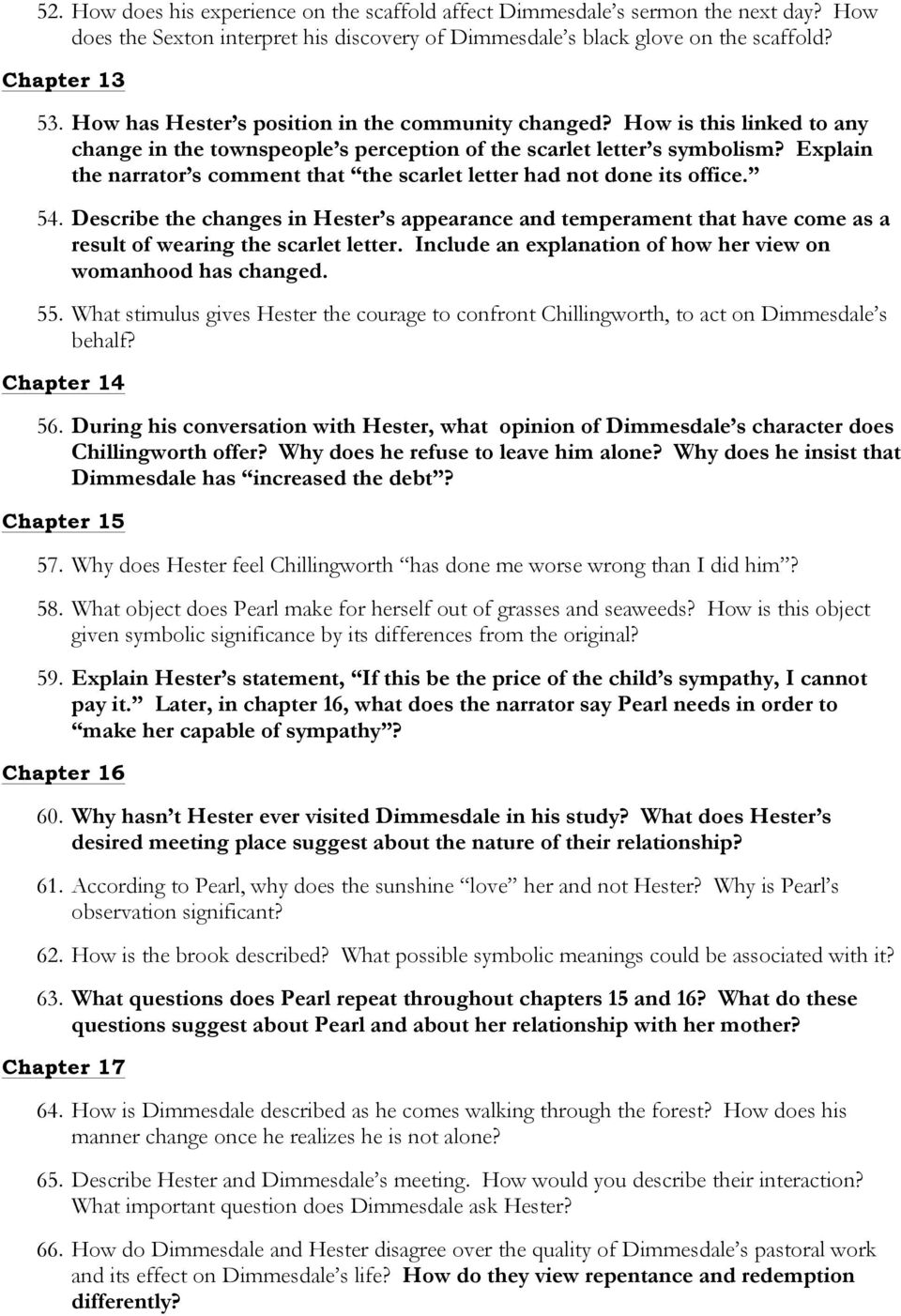 The Scarlet Letter. I. Reading Journal Assignment. II. Group