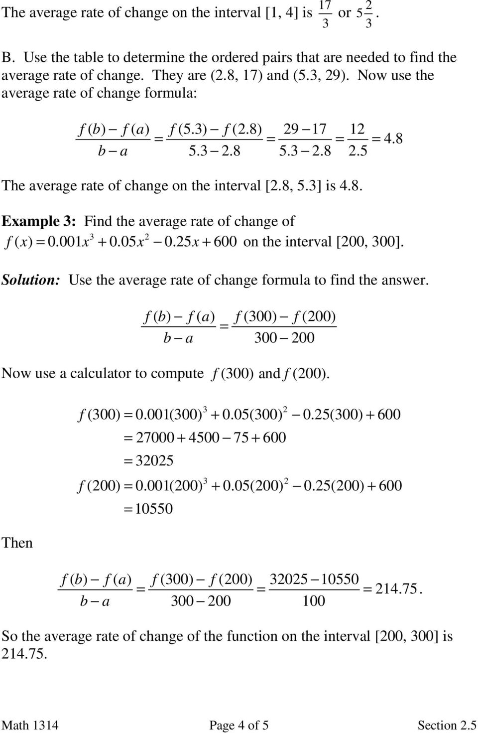 Section 2 5 Average Rate of Change - PDF