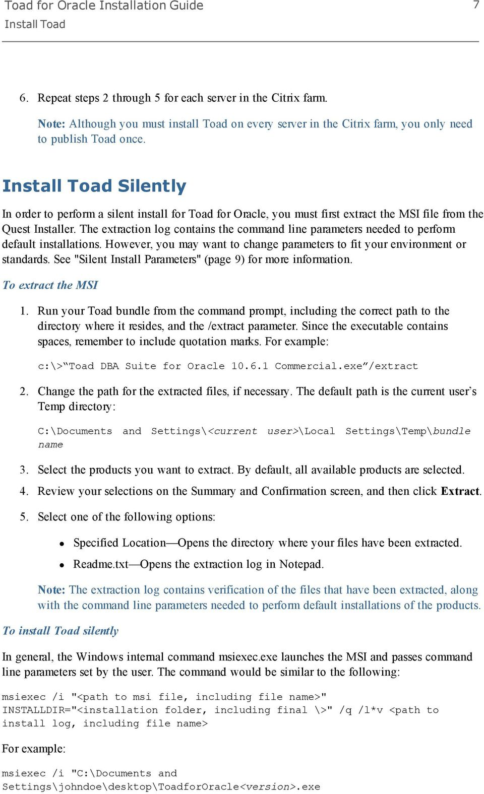 Toad for Oracle Installation Guide - PDF