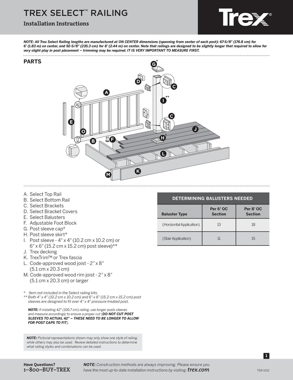 TREX SELECT RAILING  Installation Instructions BUY TREX