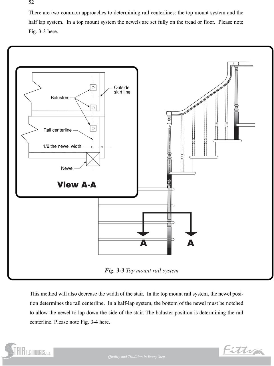 Balusters Outside skirt line Rail centerline 1/2 the newel width Newel Fig. 3-3 Top mount rail system This method will also decrease the width of the stair.