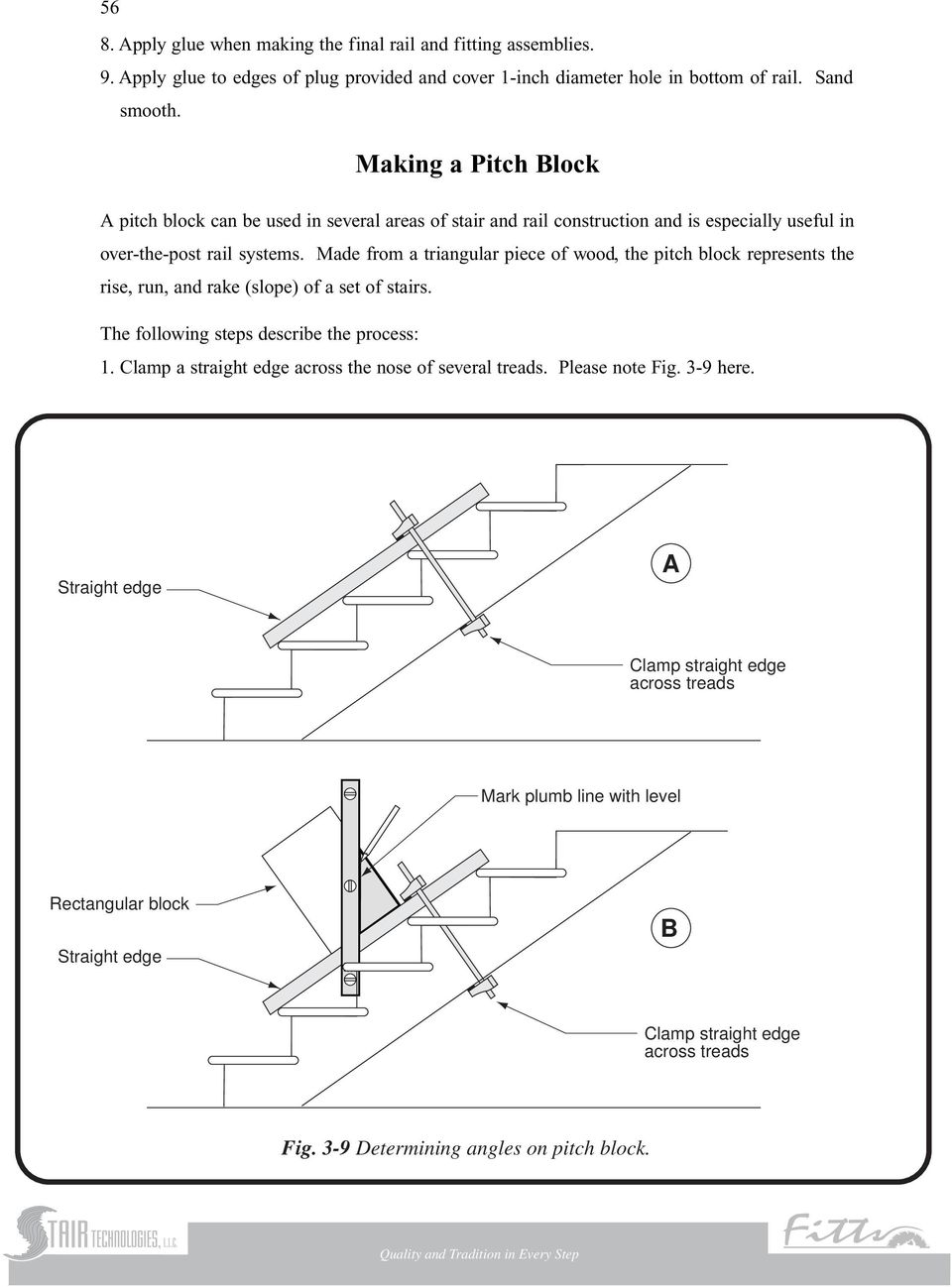 Made from a triangular piece of wood, the pitch block represents the rise, run, and rake (slope) of a set of stairs. The following steps describe the process: 1.