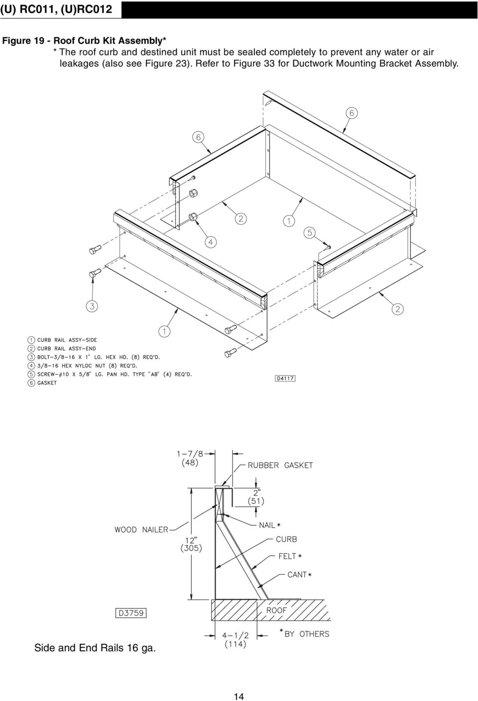 roof curb kit installation instructions pdf Back Yard Weather Station any water or air leakages also see figure 23
