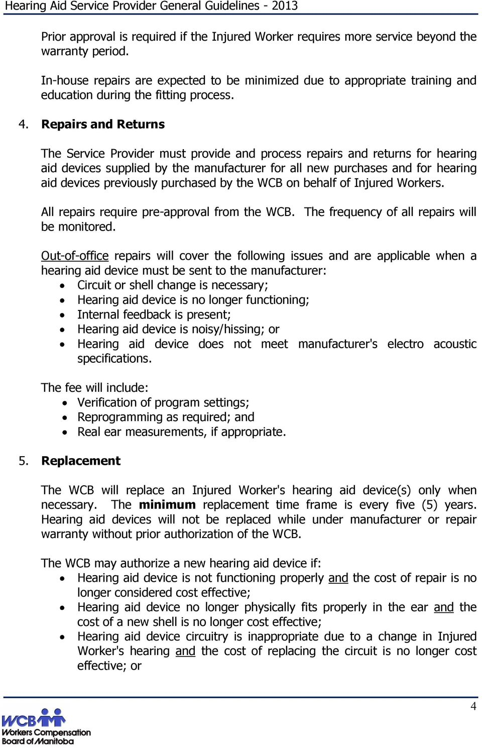Hearing Aid Service Provider General Guidelines Pdf Circuitry Repairs And Returns The Must Provide Process For