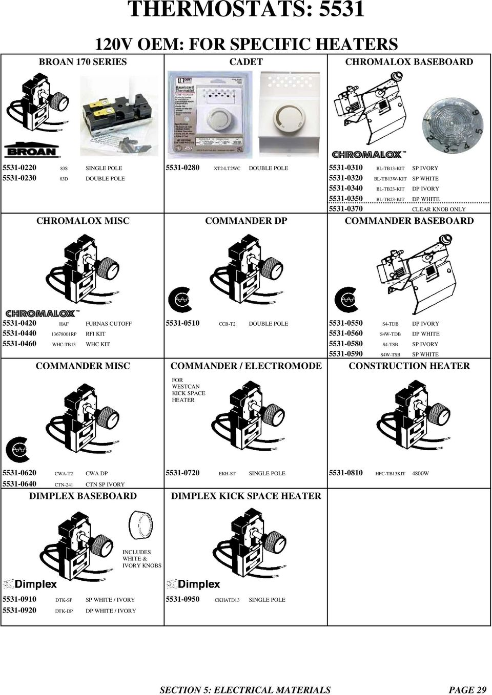 Thermostats V Oem For Specific Heaters Broan 170 Series Cadet Baseboard Heater Wiring Diagram 120 Volts Ccb T2 Double Pole 5531 0550 S4 Tdb Dp Ivory 0440