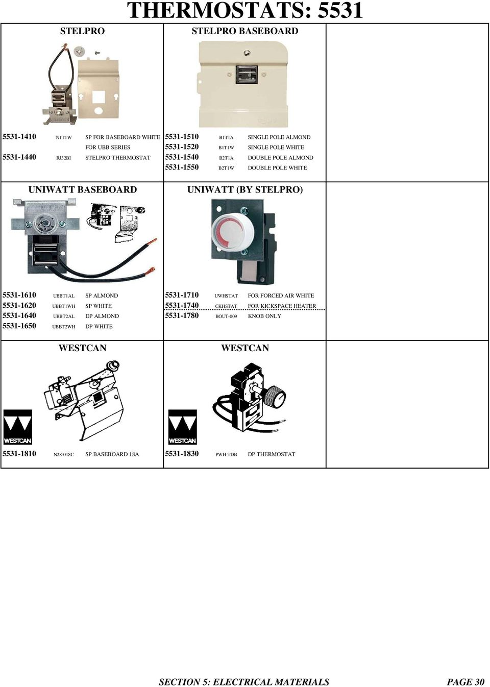 Thermostats V Oem For Specific Heaters Broan 170 Series Cadet Baseboard Heater Wiring Diagram 120 Volts Almond 5531 1710 Uwhstat Forced Air White 1620 Ubbt1wh Sp