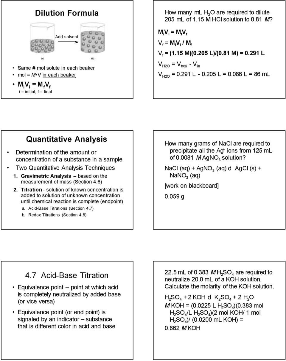 086 L = 86 ml M i V i = M f V f i = initial, f = final Quantitative Analysis Determination of the amount or concentration of a substance in a sample Two Quantitative Analysis Techniques 1.