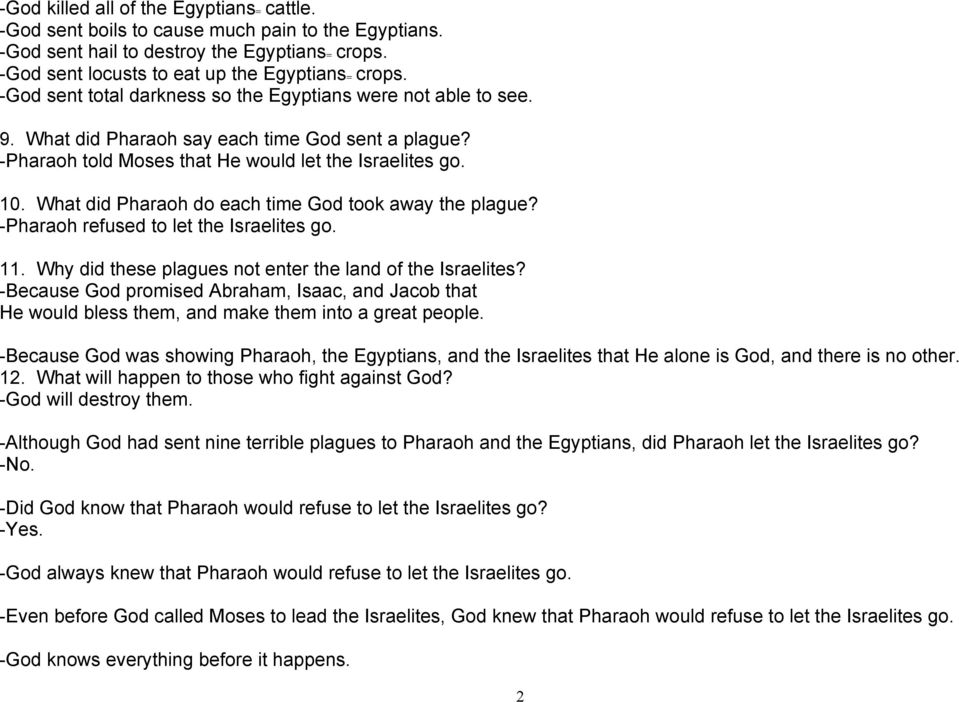 What did Pharaoh do each time God took away the plague? -Pharaoh refused to let the Israelites go. 11. Why did these plagues not enter the land of the Israelites?