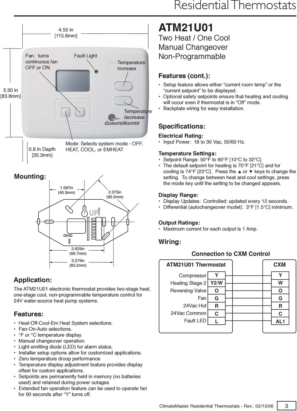 RESIDENTIAL THERMOSTATS CLIMATEMASTER - PDF on