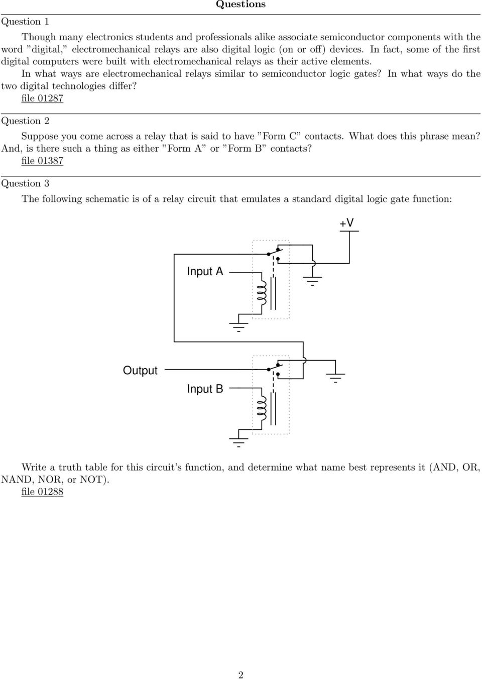 Electromechanical Relay Logic Pdf Ladder Diagram Nand Gate In What Ways Do The Two Digital Technologies Differ File 287 Question 2 Suppose You
