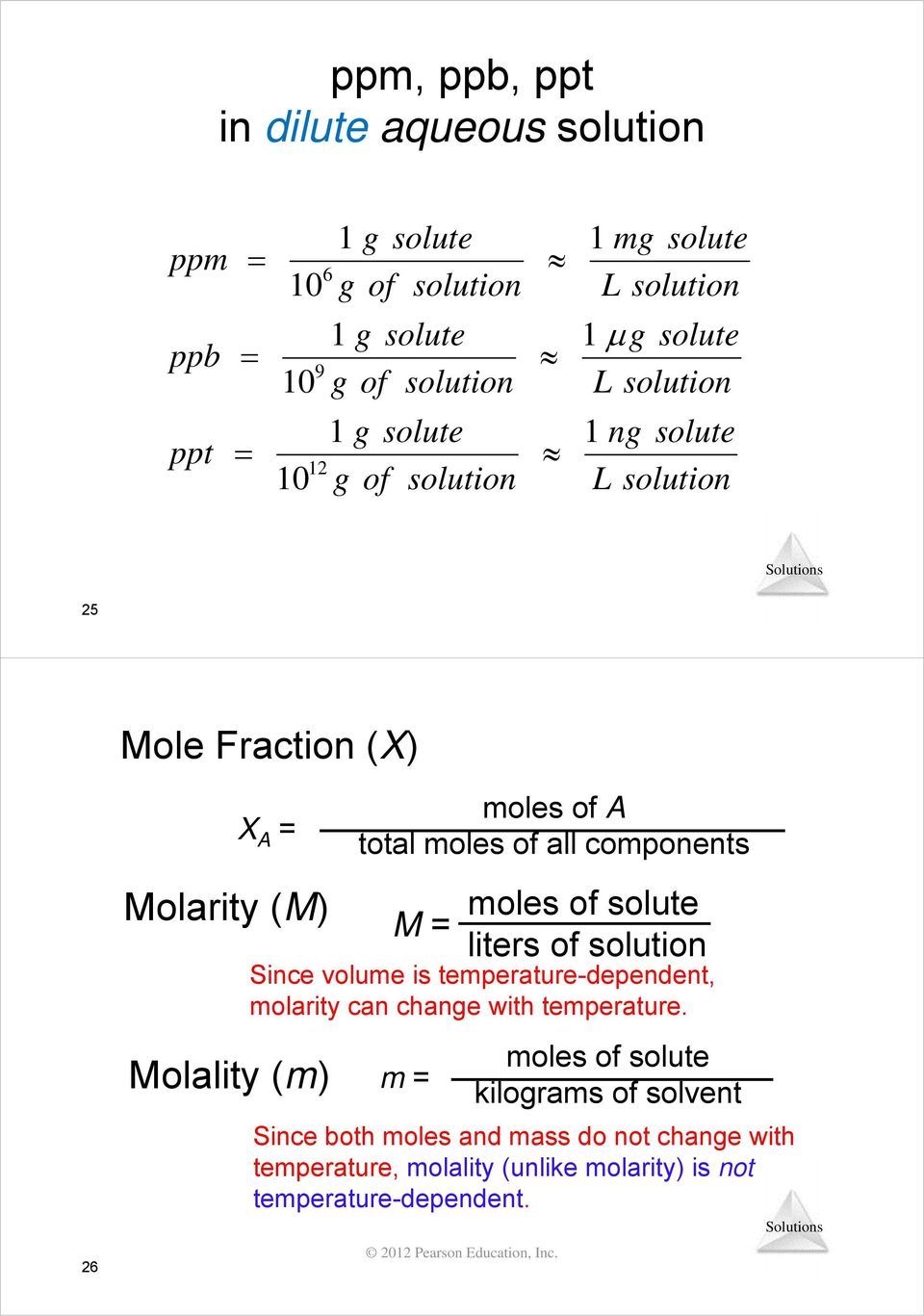 Solutions  Chapter 13  Properties of Solutions  Lecture